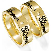 Aliança De Ouro 2 Frisos Com Diamante - As0419 Casa Das Alianças