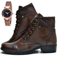 Bota Coturno Cano Curto Fashion Com Relógio Gold Dubuy 601El Marrom