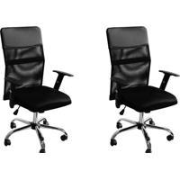 Conjunto Com 2 Cadeiras De Escritório Diretor Giratória Com Braços Ajustáveis Vancouver Ii Preto