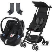 Carrinho Pockit Plus Gb Com Bebê Conforto Aton 5 Cybex Preto
