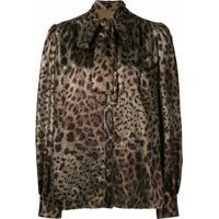 Dolce & Gabbana Blusa Animal Print Com Amarração - Preto