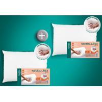 Kit 2 Travesseiros Natural Látex Alto 50 X 70 Cm Duoflex