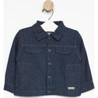 Casaco Jeans Com Bolsos- Azulgreen