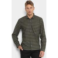 b0381be0034 ... Camisa Xadrez Lacoste Listras Bolso Regular Fit Masculina - Masculino -Verde