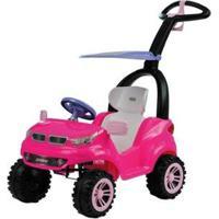 Carrinho De Passeio Infantil Push Car Easy Ride Com Pedal Com Empurrador Com Capota - Feminino-Rosa