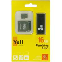 Pen Drive Yellmobile 16Gb Mc217 + Leitor De Cartão + Adaptador Sd Preto