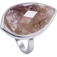 Anel De Prata Cristal De Quartzo Rajado Gota