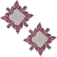 Brinco Flor Cravejado Com Tiras De Zirconia Rosa E Banho Em Prata