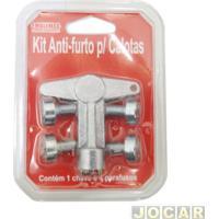 Kit Antifurto De Calota Centro Da Roda - Emblemax - Contém 1 Chave E 4 Parafusos - Prata - Jogo