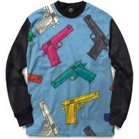 Blusa Bsc Gun Blue Full Print - Masculino-Preto