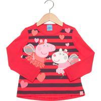 Blusa Malwee Peppa Pig Infantil Vermelha