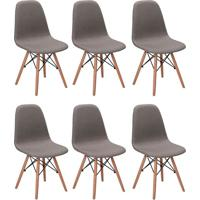 Conjunto Com 6 Cadeiras Eames Eiffel Citrino Cinza