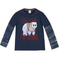 """Camiseta Urso Polar """"Too Cool For School""""- Azul Marinho Puc"""