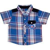 Camisa Xadrez Com Bordado- Azul Marinho & Vermelhatip Top
