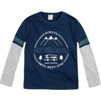 "Camiseta ""Always On Tracks Until Next Stop""- Azul Marinhhering"