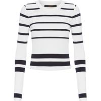 Blusa Feminina Tricot Listrada - Branco