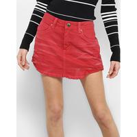 Saia Curta Forum Sarja Color Puídos - Feminino-Vermelho