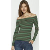 Blusa Ombro A Ombro Listrada - Verde & Laranja - Colcolcci