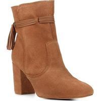 Bota Couro Shoestock Cano Curto Barbicacho Feminina - Feminino-Caramelo