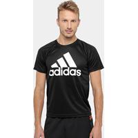 Camiseta Adidas M2M Logo Masculina - Masculino-Preto+Branco