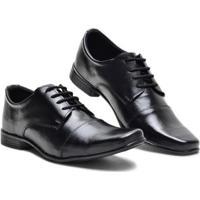 Sapato Social Couro Bico Longo Conforto Masculino - Masculino-Preto