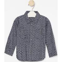 Camisa Geomã©Trica Com Bolsos- Azul & Brancagreen