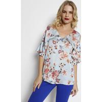 Blusa Floral Acetinada - Azul Claro & Coralsimple Life