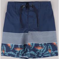 Bermuda Surf Infantil Com Listras E Folhagem Azul Marinho