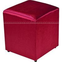 Puff Quadrado Decorativo Tecido 544 Lym Decor Vermelho Brilho