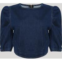 Blusa Jeans Feminina Cropped Mangas Bufantes Decote Redondo Azul Escuro