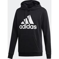Blusa Moletom Adidas Capuz - Masculino-Preto+Branco