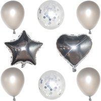 Kit Com 08 Balões Buque Látex/Metalizado - Prata