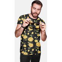 Camiseta Casual Floral, Estilo Rosas Florido, Calt Store Preto