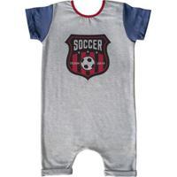 Macacão Infantil Curto Comfy Soccer - Unissex-Cinza