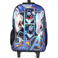 Mochila Escolar Dmw Avengers Com Rodinhas - Masculino-Azul+Preto