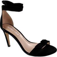 Sandália Salto Alto Lia Line Nobuck Black - Preto 39 - Feminino-Incolor+Preto