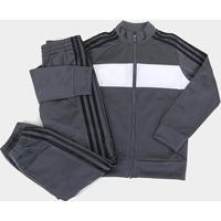 Conjunto Agasalho Infantil Adidas Tiberio Masculino - Masculino-Cinza+Branco