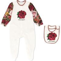 Dolce & Gabbana Kids Pijama Com Estampa De Rosa - Branco