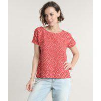 Blusa Feminina Estampada De Poá Manga Curta Decote Redondo Vermelha