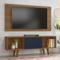 Rack Com Painel Para Tv Até 42 Polegadas Salah Freijo E Azul 135 Cm