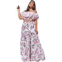 Conjunto Saia Longa E Cropped Tricoline Puro Vício Floral Rosa