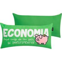 Almofada Profissãµes Economia- Verde & Branco- 20X40Xuatt?