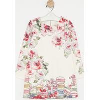 Vestido Floral & Doces- Off White & Rosa Claroluluzinha