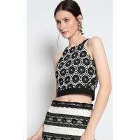 Blusa Cropped Texturizada- Preta & Branca- Le Fixle Fix