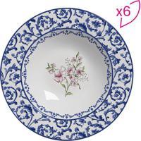 Conjunto De Pratos Fundos Flat Arabescos- Branco & Azul Scalla Cerâmica