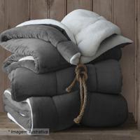 Cobertor Dupla Face Queen Size- Cinza Escuro & Off Whitesultan