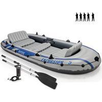 Barco Bote Inflável Excursion 5 - 455Kg Intex Remos E Bomba