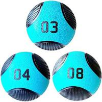 Kit 3 Medicine Ball Liveup Pro 3 4 E 8 Kg Bola De Peso Treino Funcional - Unissex
