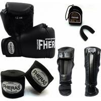 Kit Fheras Luva De Boxe / Muay Thai Tradicional 12 Oz + Bandagem + Bucal + Caneleira Anatômica - Unissex