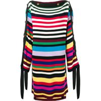 Monse Striped Mid-Length Poncho - Preto